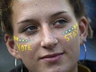 Участница ралли в преддверии референдума по выходу Великобритании из ЕС