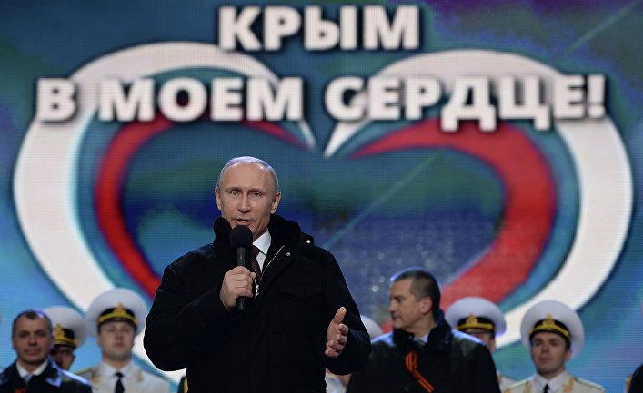 В.Путин посетил митинг-концерт «Мы вместе!» на Красной площади в Москве