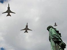Репетиция воздушной части военного парада в Москве в ознаменование 70-летия Победы в Великой Отечественной войне 1941-1945 годов