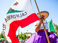 Женщина с флагом Республики Калифорния на параде в городе Аламида