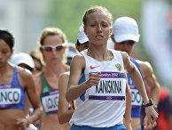 Ольга Каниськина в финальных соревнованиях женщин по спортивной ходьбе на дистанции 20 км на XXX летних Олимпийских играх в Лондоне