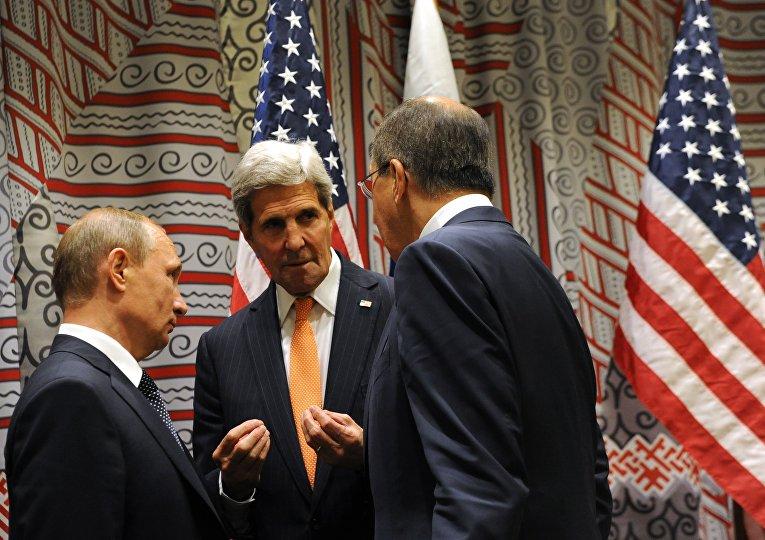 Владимир Путин, Сергей Лавров и Джон Керри на 70-й сессии Генеральной Ассамблеи ООН