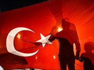 Демонстрация сторонников президента Турции Тайипа Эрдогана на площади Таксим
