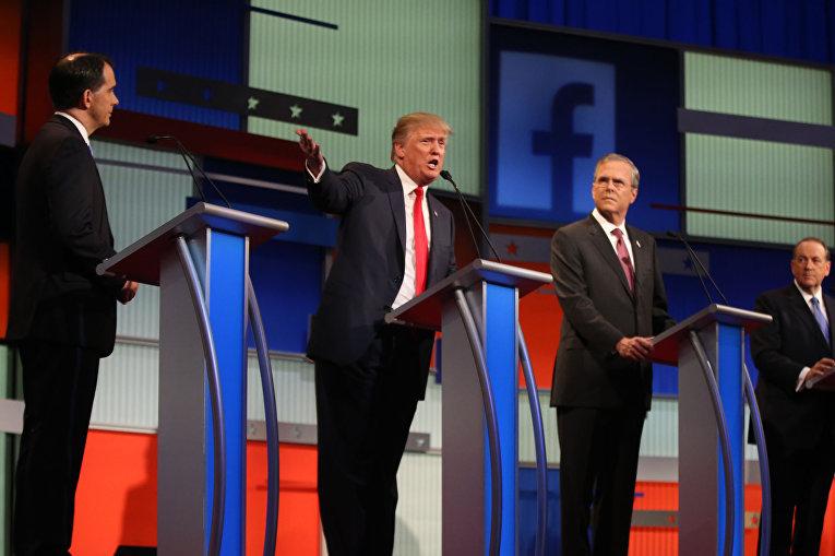 Предвыборные дебаты кандидатов в президенты: Скотт Уокер, Дональд Трамп, Джеб Буш, Майк Хакаби