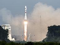 Старт ракеты «Союз» с европейского космодрома в Куру