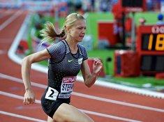 Юлия Степанова во время забега на дистанции 800м среди женщин на чемпионате Европы по легкой атлетике