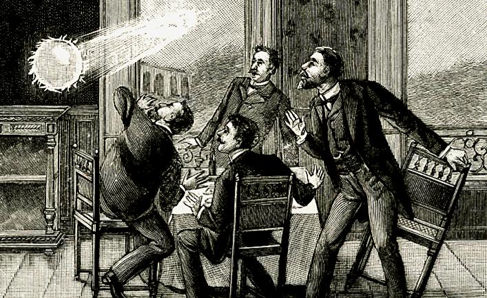 Шаровая молния, гравюра XIX века