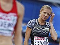Легкоатлетка Юлия Степанова на соревнованиях в Амстердаме