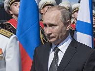 Президент РФ Владимир Путин принимает участие в праздновании Дня ВМФ в Санкт-Петербурге