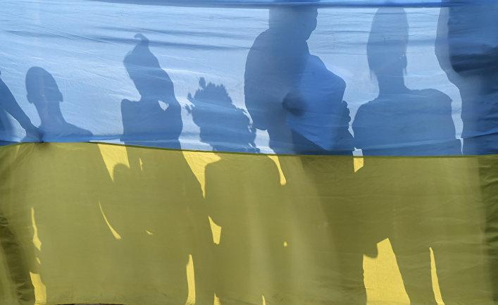 Участники акции протеста в Киеве.