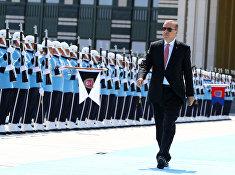Президент Турции Реджеп Тайип Эрдоган перед встречей с президентом Казахстана
