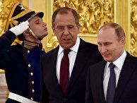 Владимир Путин и Сергей Лавров перед церемонией вручения верительных грамот послов иностранных государств