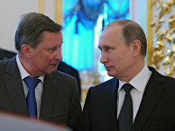 Президент России Владимир Путин и руководитель администрации президента РФ Сергей Иванов во время приёма в Кремле. 2015 год