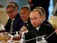 Владимир Путин на встрече с российскими и турецкими предпринимателями в Санкт-Петербурге