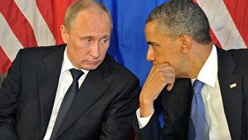 """Владимир Путин и Барак Обама во время встречи в преддверии саммита G20 в гостинице """"Эсперанса"""" в Лос-Кабосе"""