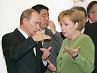 Президент России Владимир Путин и федеральный канцлер Германии Ангела Меркель