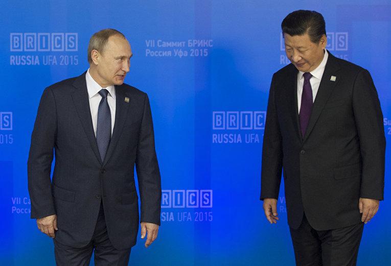 Владимир Путин и Си Цзиньпин на саммите БРИКС в Уфе