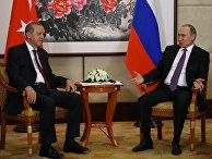 Президент Турции Тайип Эрдоган и президент РФ Владимир Путин перед саммитом G20