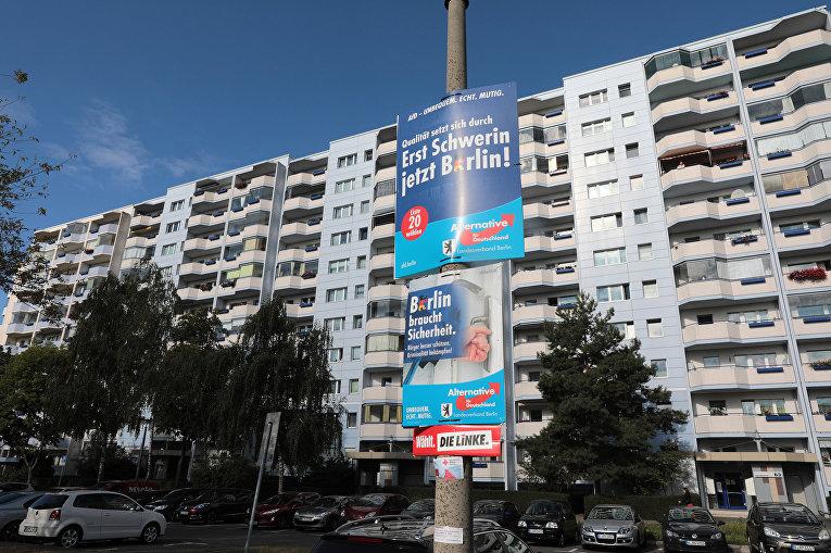 Предвыборные плакаты партии АдГ в берлинском районе Марцан-Хеллерсдорф