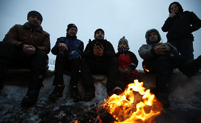 Мигранты во временном лагере для беженцев на острове Сейланд, Норвегия