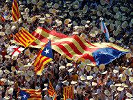 Демонстрация в Национальный День Каталонии в центре Барселоны