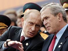 Путин, Буш на Красной площади во время парада