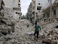 Руины зданий в окрестностях Алеппо