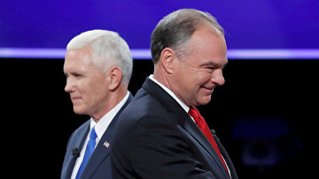 Дебаты кандидатов в вице-президенты США Тима Кейна и Майкла Пенса