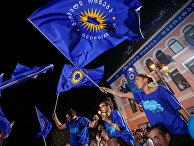 Сторонники партии «Грузинская мечта» в Тбилиси