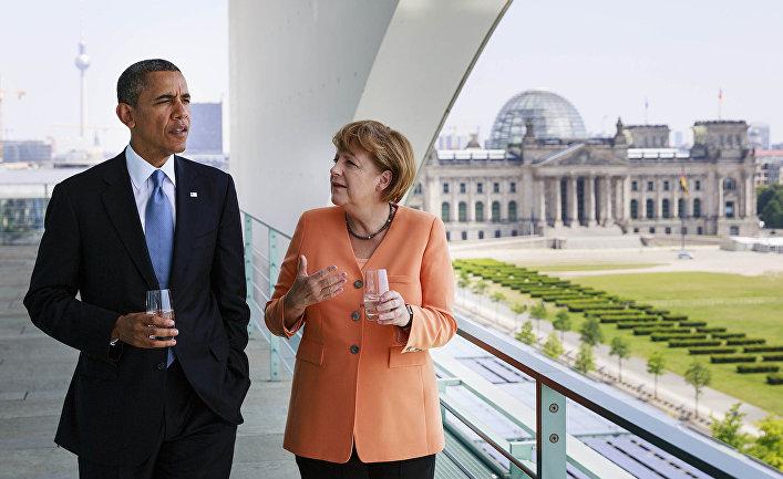 Президент США Барак Обама и канцлер ФРГ Ангела Меркель во время переговоров в Берлине