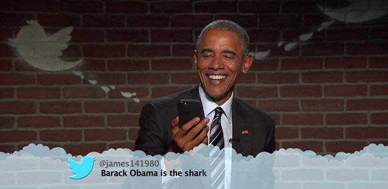 Президент Обама опять читает ругательные твиты о себе в  эфире Jimmy Kimmel Live!