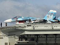 Самолеты Су-33 на борту тяжёлого авианесущего крейсера «Адмирал Флота Советского Союза Кузнецов»
