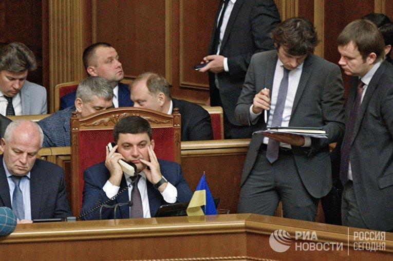 Премьер-министр Украины Владимир Гройсман на заседании Верховной рады Украины в Киеве. 21 сентября 2016