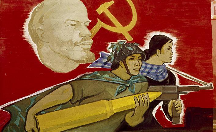 Репродукция плаката «Изучать опыт Октябрьской революции»