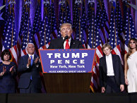 Избранный президент США Дональд Трамп во время выступления в Нью-Йорке