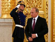 Президент РФ Владимир Путин в Александровском зале Большого Кремлёвского дворца