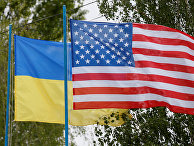 Национальные флаги Украины и США