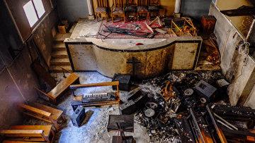 В одной из сожженных и разрушенных коптских церквей в провинции Минья в Египте