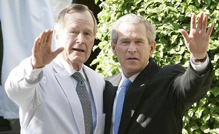 Президент Джордж Буш и его отец Джордж Буш старший