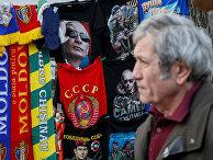 Футболки с изображениями президента России Владимира Путина в центре Кишинева