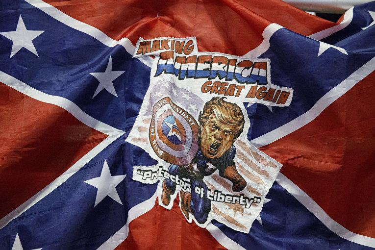 Флаг Конфедерации с изображением Дональда Трампа