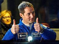 Член экипажа МКС Тома Песке Франции на космодроме Байконур
