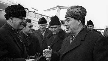 Л.И. Брежнев во время встречи президента Финляндской Республики Урхо Калева Кекконена