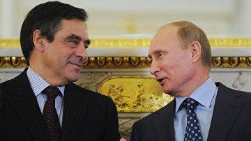 Премьер-министр России Владимир Путин и премьер-министр Франции Франсуа Фийон