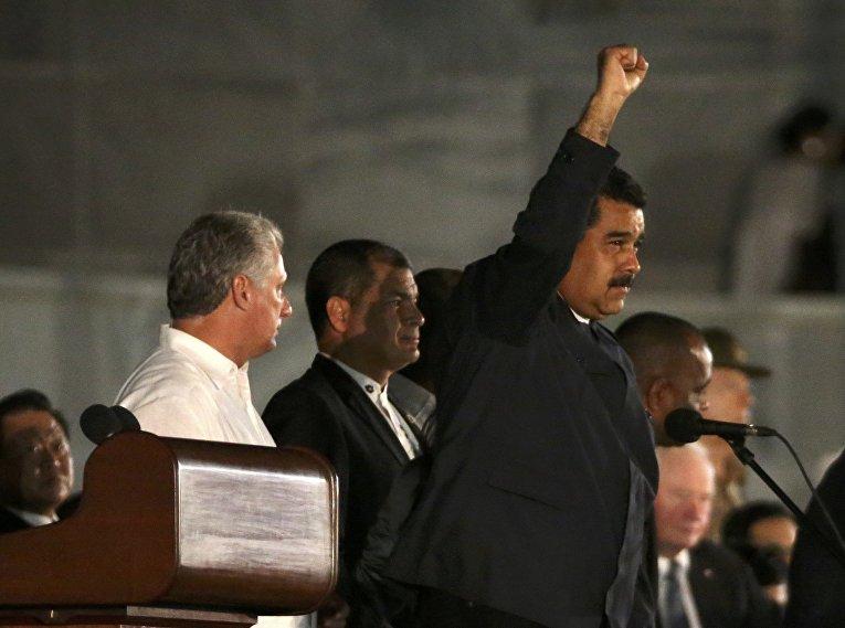 Президент Венесуэлы Николас Мадуро на церемонии прощания с Фиделем Кастро в Гаване