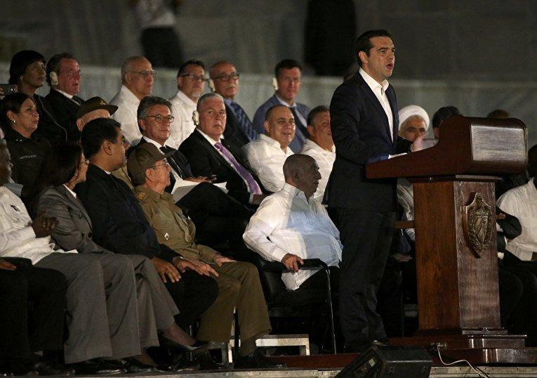 Премьер-министр Греции Алексис Ципрас на церемонии прощания с Фиделем Кастро в Гаване