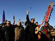 Акция протеста индейцев против строительства трубопровода Dakota Access в Северной Дакоте