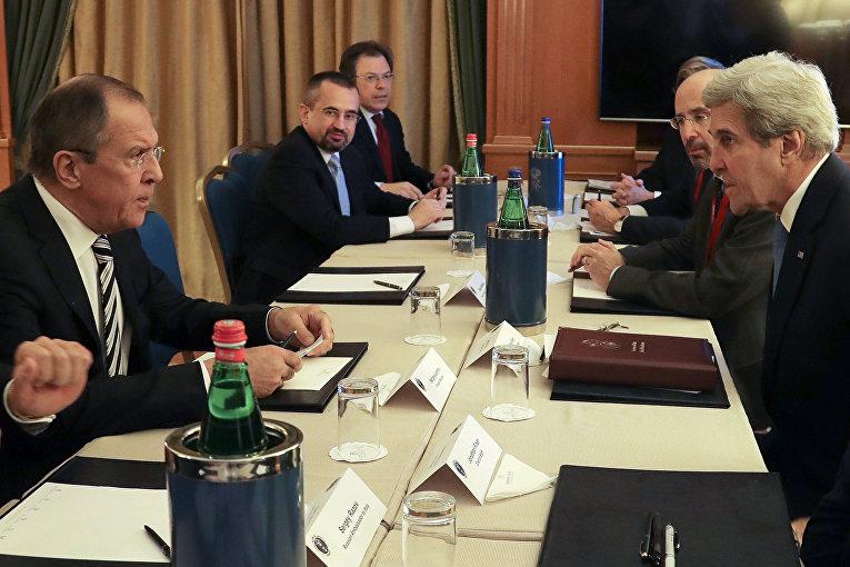 Встреча Сергея Лаврова и Джона Керри на полях саммита «Средиземноморские диалоги» в Риме