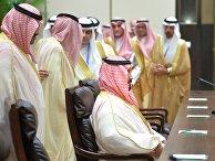 Мухаммад бин Салман Аль Сауд во время встречи с президентом России Владимиром Путиным