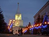 Вид на Спасскую башню Казанского кремля